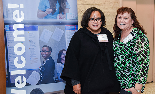 Alumnae Cheryl Stallworth and Cynthia Camarillo at breakfast during REUNION 2019.